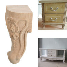 4PCS 10x6cm European Style Solid Wood Carved Furniture Foot Legs TV Cabinet Seat Feets