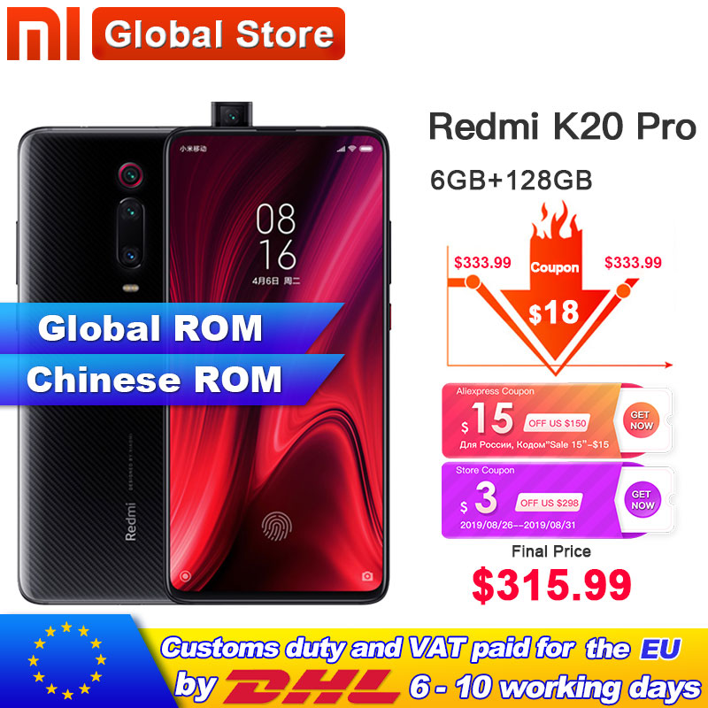 Global ROM Xiaomi Redmi K20 Pro 6GB 128GB Smartphone Snapdragon 855 Octa Core 4000mAh Pop-up Front 48MP Rear Camera AMOLED 6.39