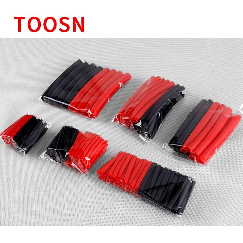 TOOSN-Tube thermorétractable, rouge et noir, avec colle, Tube thermorétractable à double paroi, manchon de câble, 6 tailles, 270 pièces