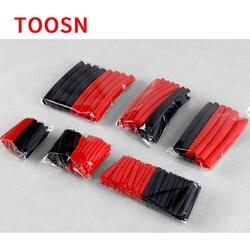 Термоусадочные трубки TOOSN, 270 шт., 3:1, красные, черные, с клеем, двойная настенная трубка для кабеля, комплект трубок 6 размеров, термоусадочная ...
