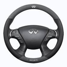 Housse de volant de voiture en cuir suédé, accessoire pour infiniti QX30 QX40 QX50 QX56 QX60 QX70 QX80 Q30 Q45 Q50 Q60, 37 38cm, 15 pouces
