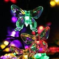 Solar 20led Butterfly decorative lights string Christmas Lantern Festival Flash lights outdoor landscape garden lights