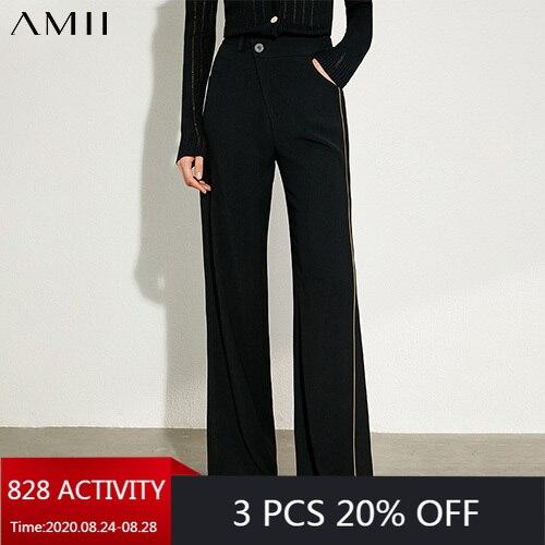AMII Minimalism otoño moda empalmado negro mujeres pantalones Causal alta cintura suelta pantalones largos femeninos 12040267
