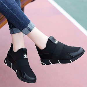 Image 3 - Zapatillas de deporte con plataforma de cuero sintético para mujer, zapatos ligeros, sin cordones, con aumento de altura, para Primavera, 2019