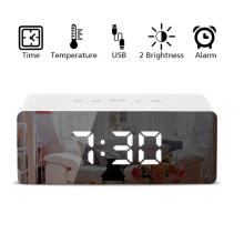 Креативный светодиодный цифровой будильник, Ночной светильник, термометр, дисплей, зеркальная лампа, горячая Распродажа, большая емкость,, Прямая поставка