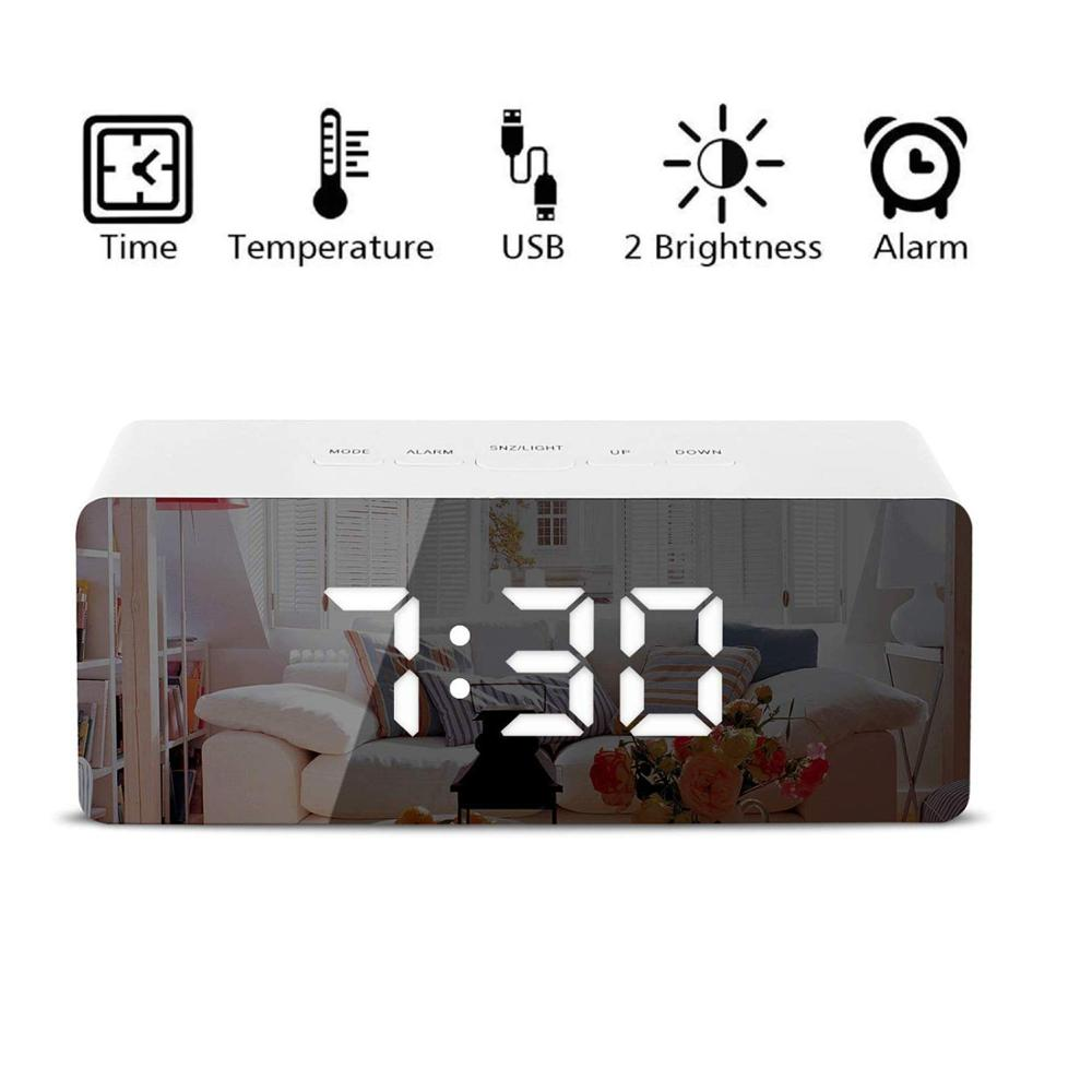 Creative LED Digital Alarm Clock Night Light Thermometer Display Mirror Lamp Hot 2019 High Capacity Wholesale Dropshipping