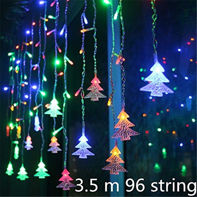 Christmas Garland Curtain Icicle String Light 220V 3.5M Droop 0.4/0.5/0.6m Fairy Lights Party Street Garland Wedding Decorative