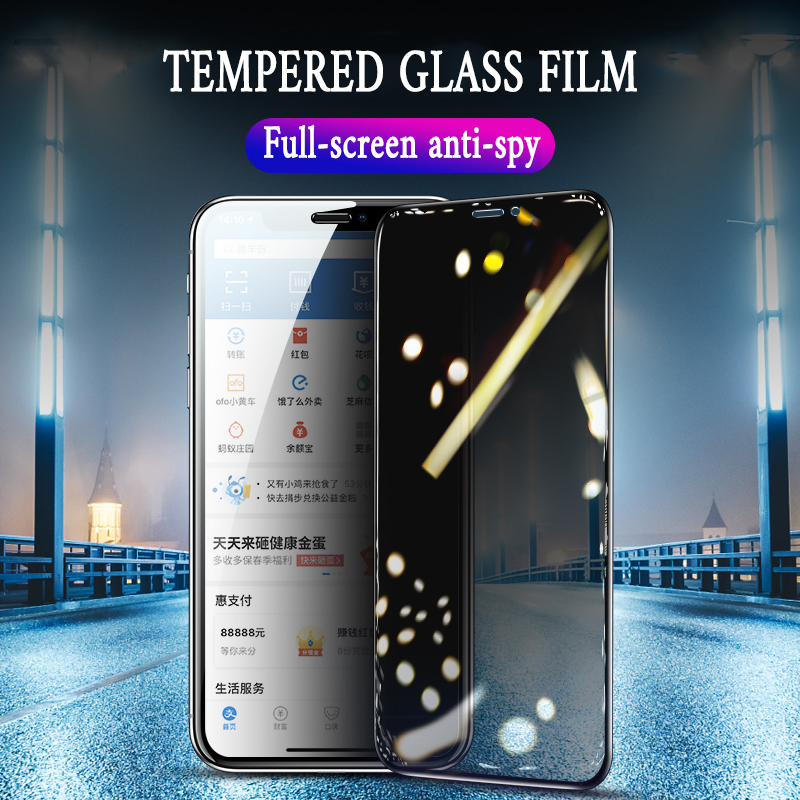 9H Full Privacy Tempered Glass For IPhone X XS MAX XR 6 6S 7 8 Plus Anti Spy Glare Peeping Screen Protector High Definition