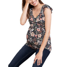 2020 Women's Summer Pregnant Maternity Blouse Shirts V Neck Floral Casual Breastfeeding Tops Pregnancy Clothes Plus Size(China)
