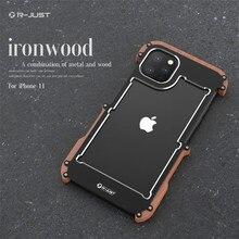 Caso de madeira para iphone 11 pro 11 pro max luxo duro alumínio metal madeira pára capa protetora para iphone xr xs 7 8 plus caso