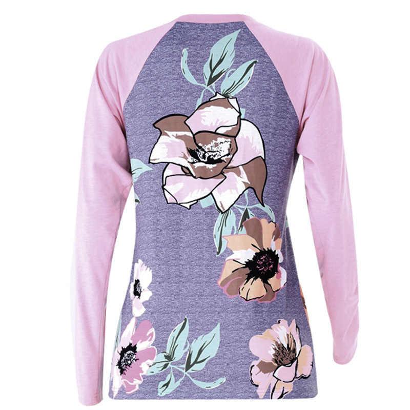 저렴한 가격 여성 봄 가을 캐주얼 티셔츠 오-넥 긴 소매 꽃 프린트 스 플라이 싱 탑 레이디 셔츠 루스 카미 세타 페미니나
