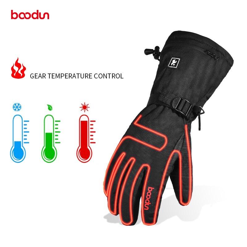 Melhor venda de esqui esportes luvas de aquecimento de inverno à prova dwaterproof água cobrar o aquecimento de três engrenagens ciclismo luvas de esqui boodun 6281108