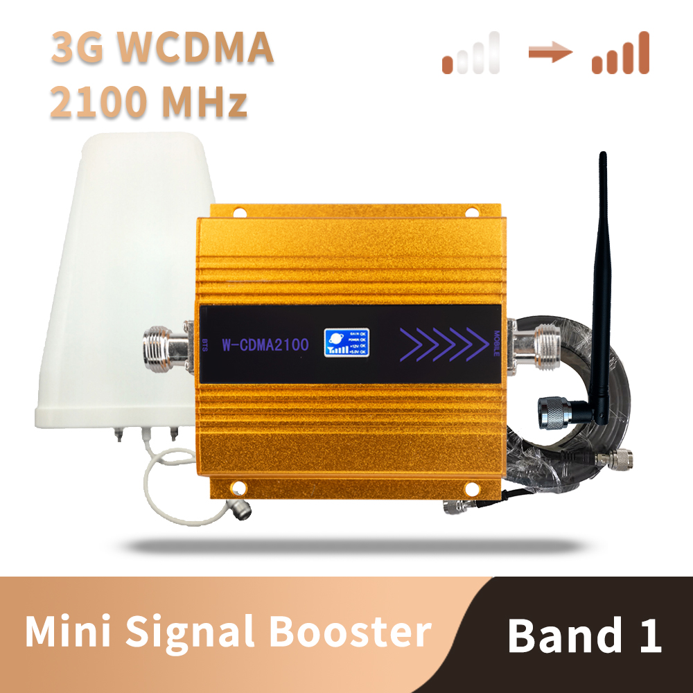 WCDMA 2100 Mhz Signal Booster Cell Phone Mini Mobile Phone 3G Signal Repeater Signal Amplifier Antenna Kit