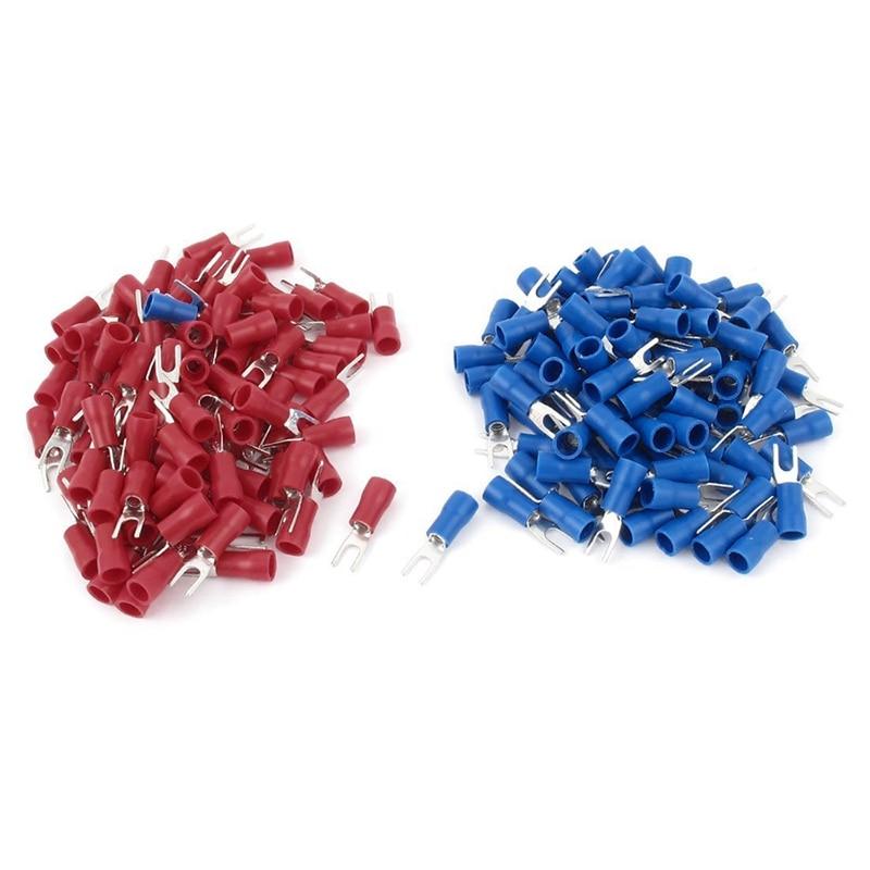 Terminales de horquilla de calibre 4 Par Rojo Negro 2 terminales