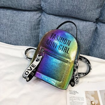 цена на Laser Mini Backpack Women Stadium Security School Book Bag Travel Cute Travel Hot silver Ladies Small Bag