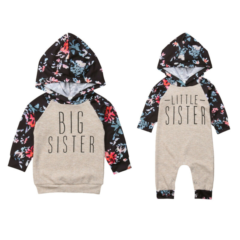 Newborn Toddler Baby Girl Autumn Outfits Clothes Little/Big SIster Hooded Romper Jumpsuit Long Sleeve Floral Tops Hoodies 0-6T