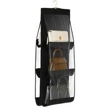 6 Pocket Opknoping Handtas Organisator Voor Garderobe Kast Transparante Opbergtas Deur Muur Clear Diverse Schoen Tas Met Hanger Pouch
