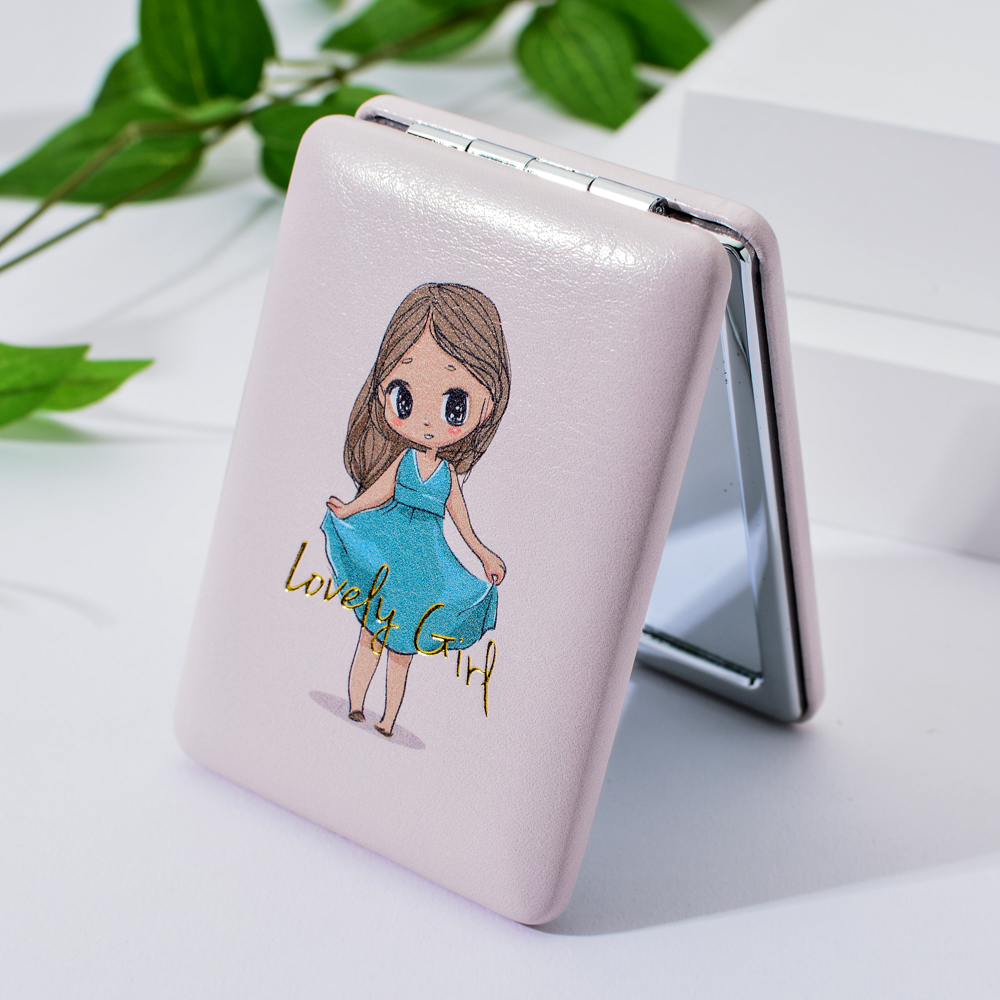 menina maquiagem espelhos compactos bolso floral espelho