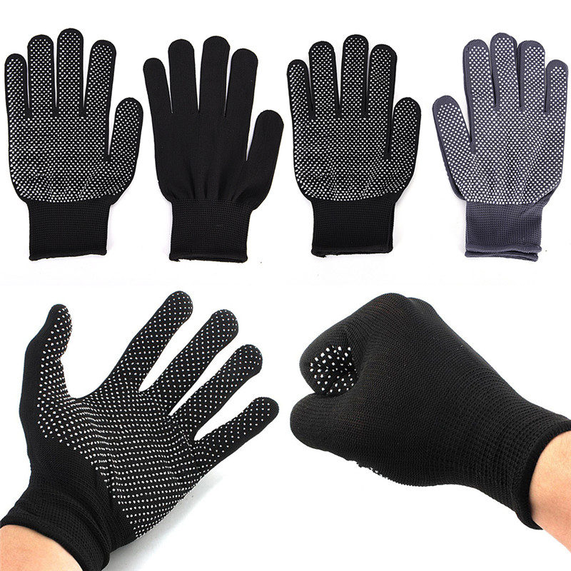 1 Pair Hair Straightener Perm Curling Hairdressing Heat Resistant Finger Glove Black Grey Color Hair Salon Tools