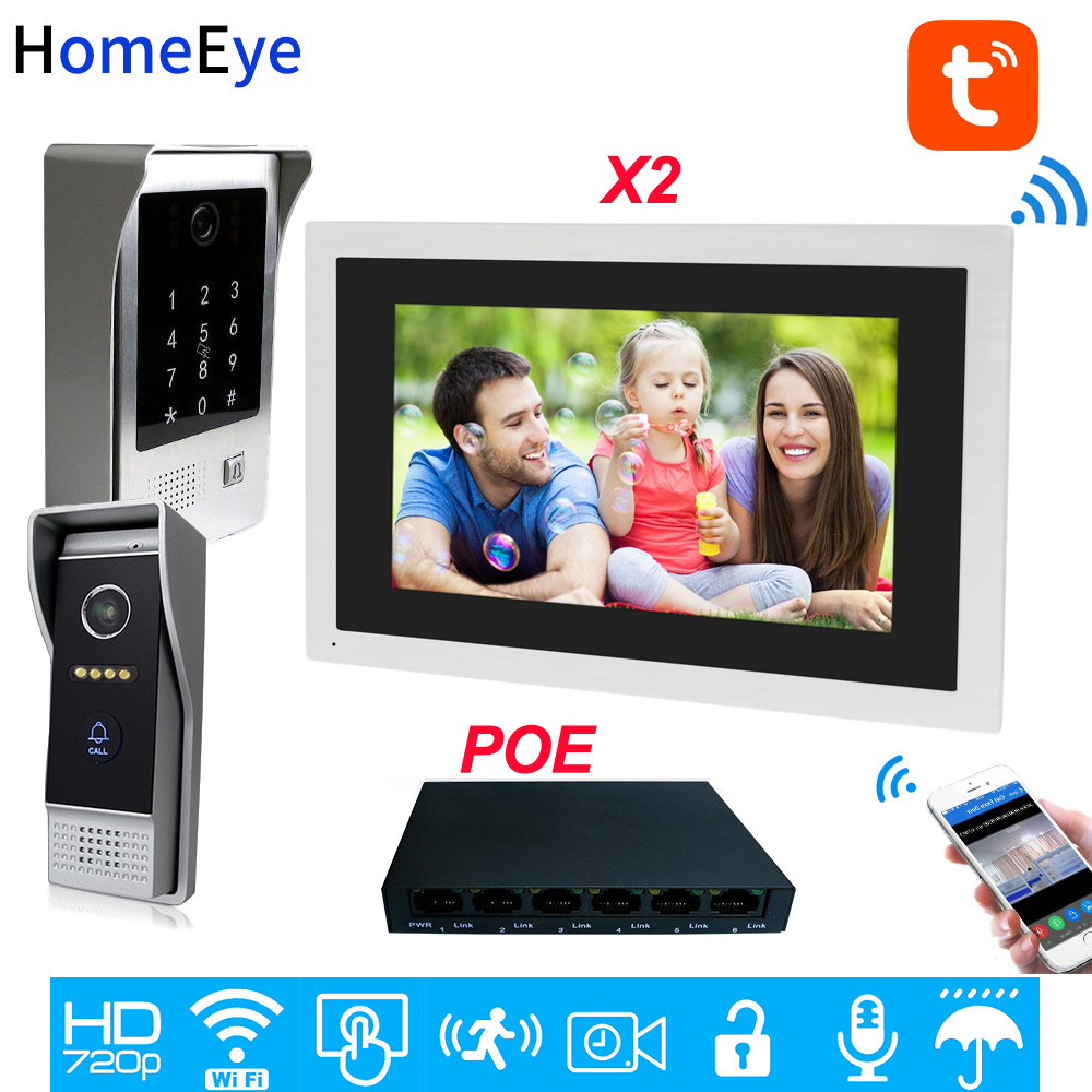 960P WiFi Video Door Phone IP Video Intercom 10inch Touch Screen 2 Doors Home Access Control System TuyaSmart APP Remote Unlock