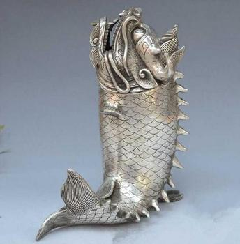 China collectible archaize white copper dragon fish crafts statue feng shui  home decor