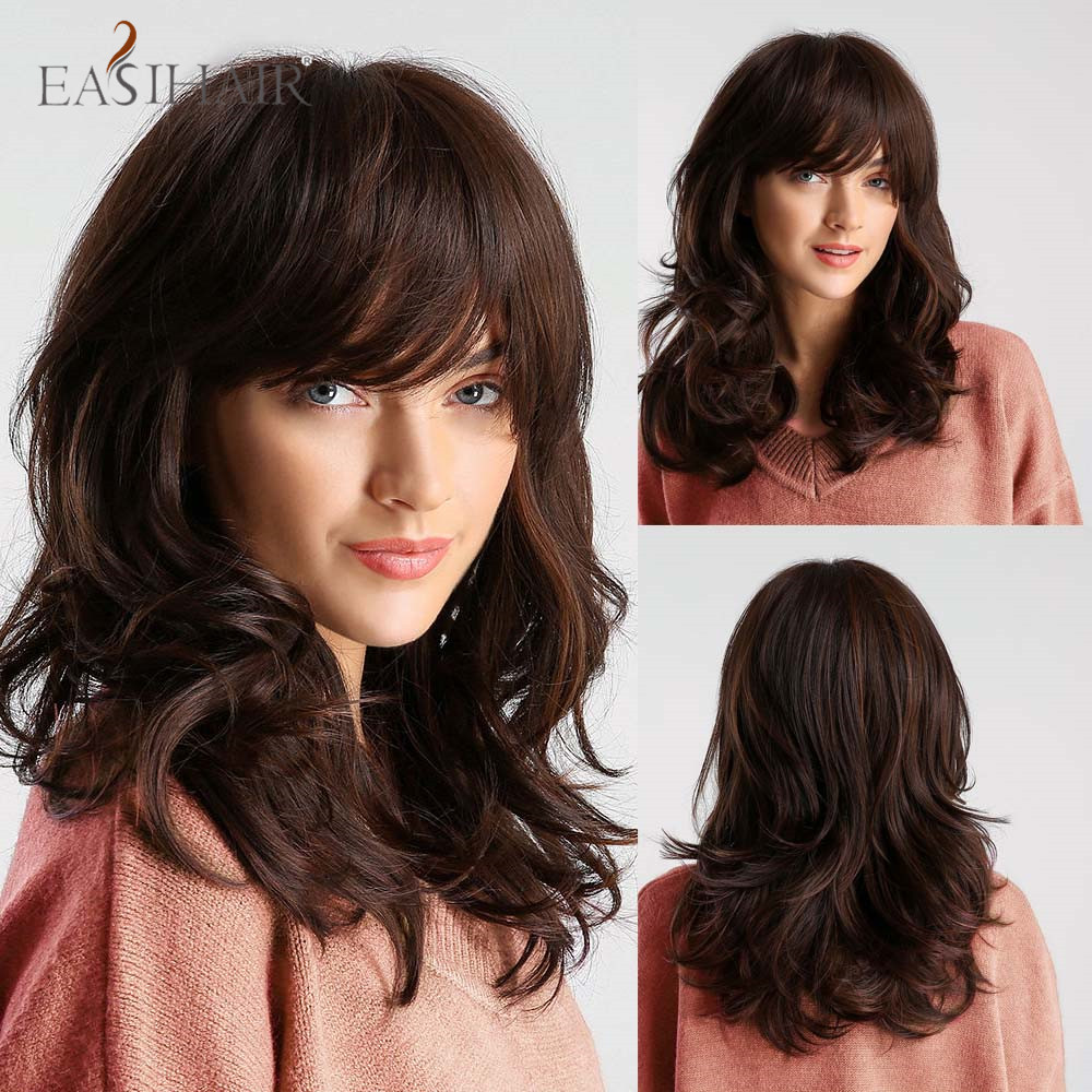 EASIHAIR Medium Length Wavy Brown Synthetic Wigs With Bangs For Afro Women Cosplay Daily Natural Hair Wigs Heat Resistant Fiber