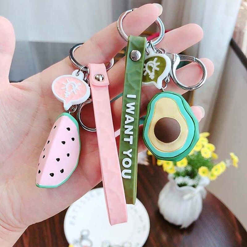 Pineapple Ribbon Keychain on Pink Key Fob