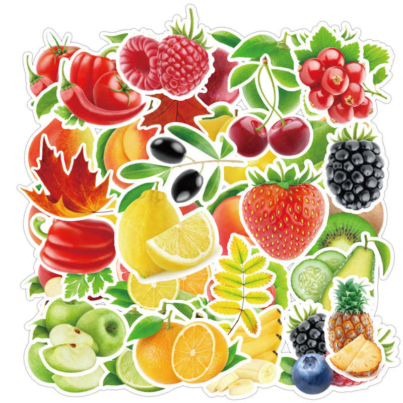 100 Pcs/lot Exquisite Cartoon Fresh Fruits and Vegetables Stickers Kids Education Toys Children stickers