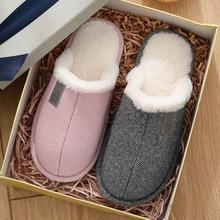 Furry Slides Indoor Warm Women Slippers Faux Fur Winter Home Shoe Non-slip Cotton House Slipper Bedroom Shoes 2019