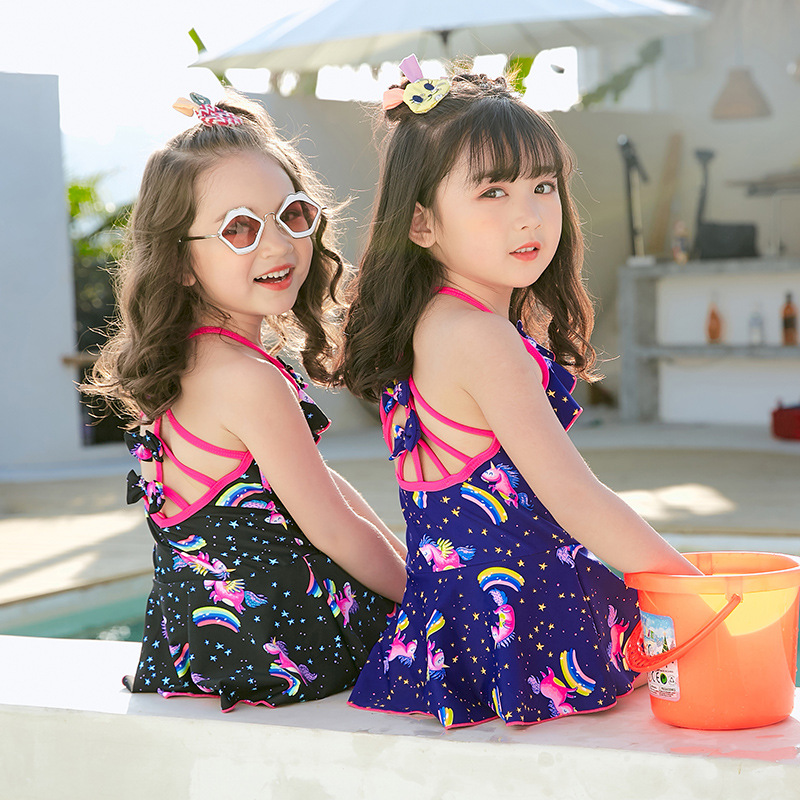 2019 New Style Hot Sales KID'S Swimwear Halter Backless One-piece Swimming Suit Large Bow Unicorn GIRL'S Swimsuit