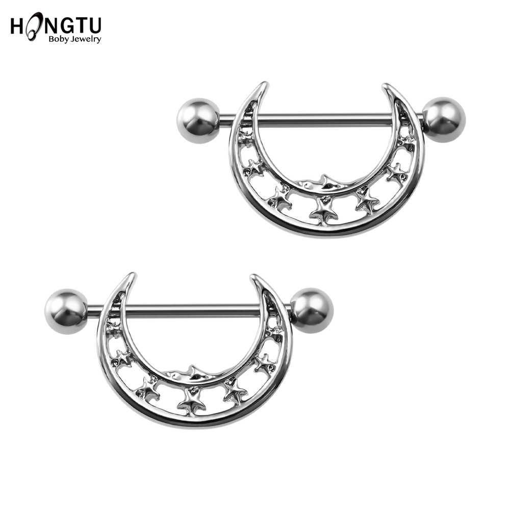 2 pcs sexy barbell nipple ring piercing barra anéis de aço cirúrgico redondo alienígena coelho lua nipple shields para o corpo feminino jóias 14g