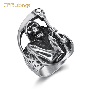 CFBulongs Retro Punk Men's Death Skull Ring High Quality Stainless Steel Hip Hop Rock Halloween Men's Jewelry Party Gift