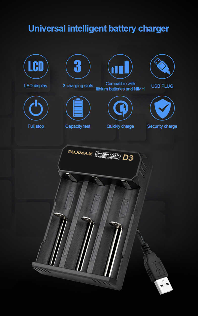 Pujimax 3-solt 18650 Battery Charger USB Kabel Pengisian Cepat 26650 18350 14500 26500 22650 Li-ion Pengisi Baterai Isi Ulang
