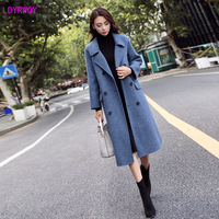 2019 autumn and winter new Korean fashion women's lapel long sleeve double breasted long temperament woolen coat