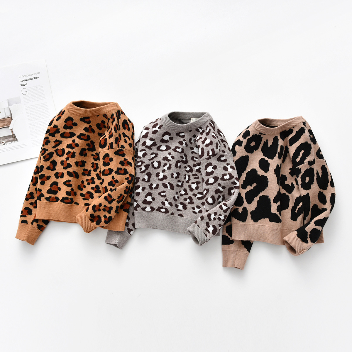 Image 1 - Kids Baby Boys Sweaters Leopard Knitted Pullover Casual Long Sleeve Childrens Tops Toddler Boy Clothes Baby Girl ClothesSweaters   -