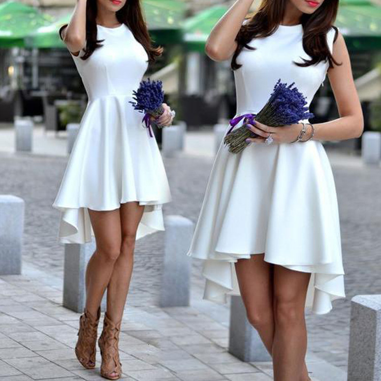 BacklakeGirls Sexy Round Neck Sleeveless A-line Knee-length Satin Cocktail Dress White Formal Party Dress Robe De Soirée 2019