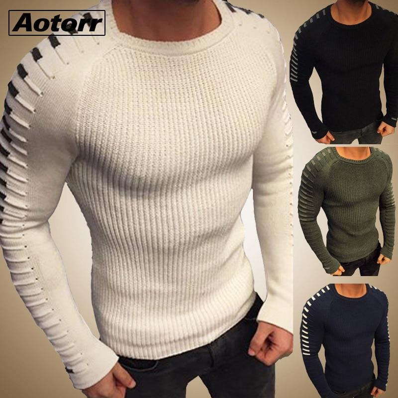 Outono inverno camisola masculina 2020 nova chegada casual pulôver homem manga longa o-pescoço retalhos de malha camisolas streetwear