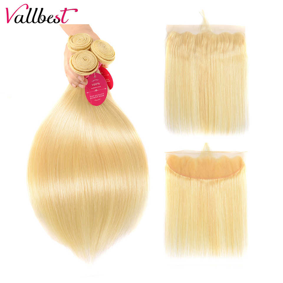 Vallbest Blonde Bundles With Frontal Remy Malaysian Straight Human Hair 613 Bundles With Frontal Closure 13*4 Ear To Ear