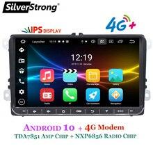 Silverstrong android10.0 ips 4g modem carro 2din rádio gps para volkswagen tiguan golf mk6 mk5 opcional dsp tpms dvr
