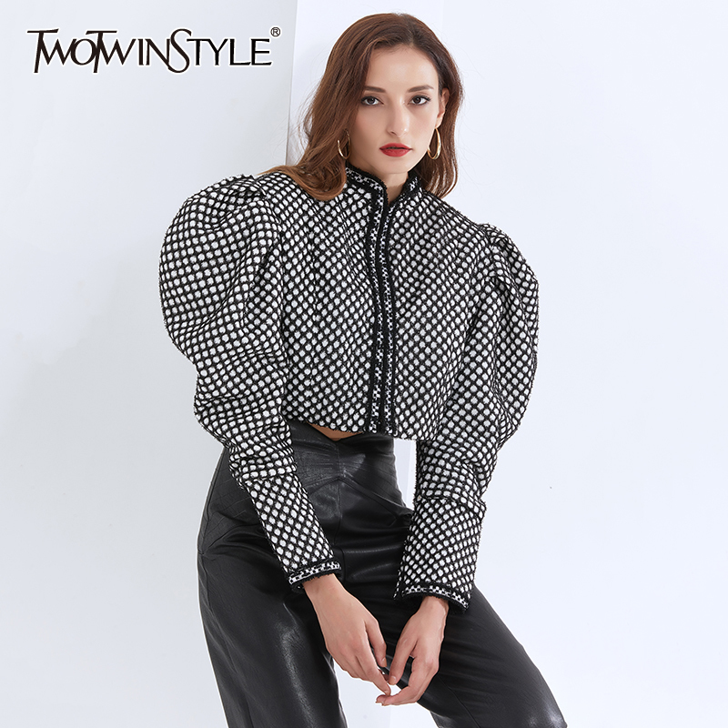TWOTWINSTYLE Plaid Hit Color Coat For Women  O Neck Puff Long Sleeve Streetwear Plus Size Short Coats Female 2020 New Clothing 1