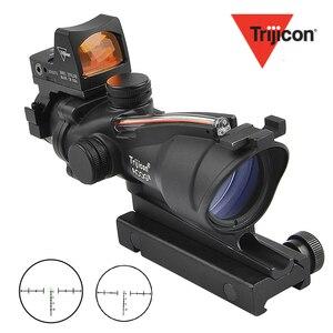 Trijicon ACOG 4X32 область Cahevron сетка из волокна зеленый красный с подсветкой с RMR Mirco Красный точка зрения тактический охотничий прицел