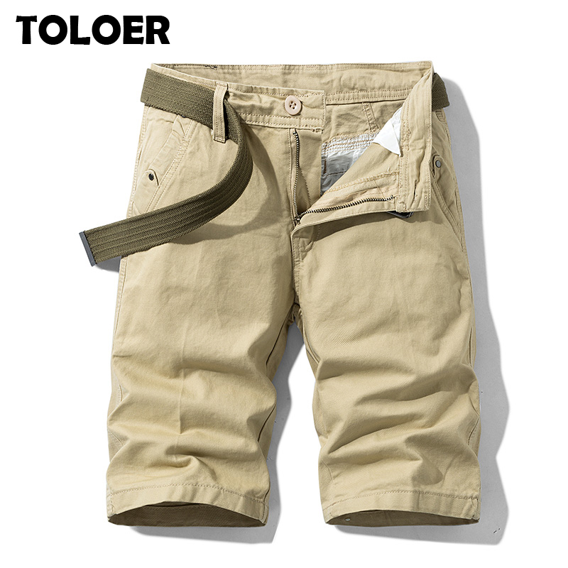 New Solid Shorts Men 2020 Summer Slim Fit Knee Length Casual Military Cargo Shorts Mens High Quality Cotton Tactical Short Pants