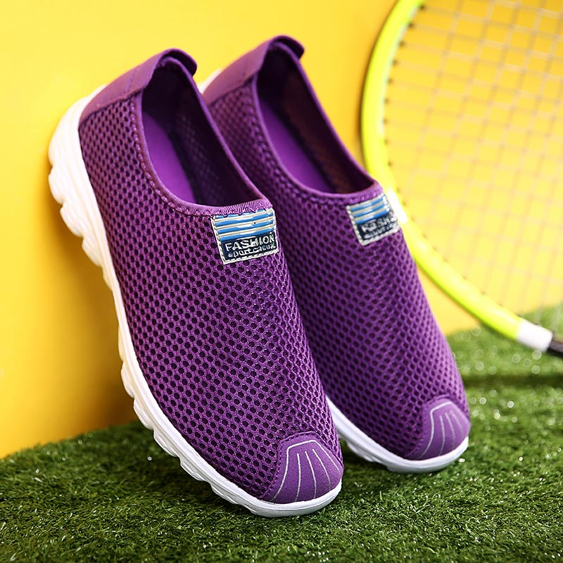 Summer Mesh Women's Sport Shoes Breathing Running Shoes Woman Lightweight Sneakers Woman Slip-on Sports Shoes Walk Purple B-321