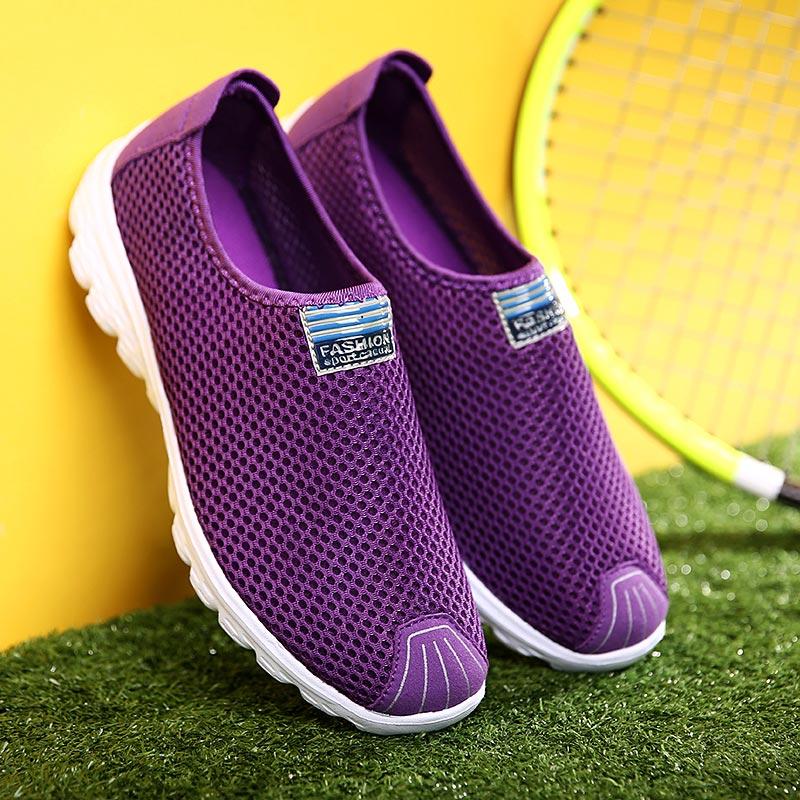 Summer Mesh Women's Sport Shoes Breathing Running Shoes Woman Lightweight Sneakers Woman Slip-on Sports Shoes Walk Purple B-321