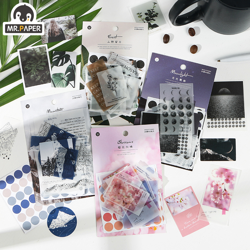 Mr.paper 4 Designs 40pcs Photo Fragment Material Scrapbooking/Card Making/Journaling Project DIY Kraft Ins Writing Paper Cards