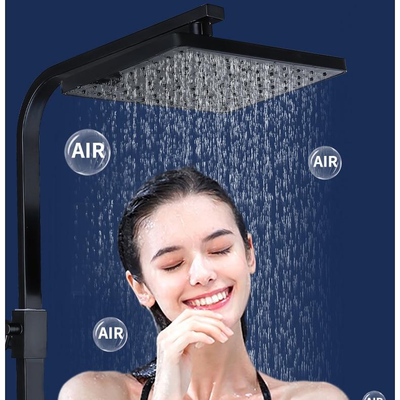 H8556293d50e246d5a01021075592d39ez Piano Digital Bathroom Shower Set SDSN 12 Inch Rainfall Shower Head Solid Brass Bathroom Faucets Matte Black Thermostatic Shower