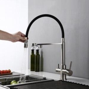 Image 3 - Umkehrosmose Tri Flow 3 in 1 Wasserhahn 3 Weg Küche Wasserhahn Wasserhahn in Edelstahl Farbe