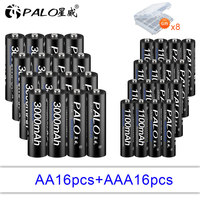 12/14/16/18/20/22/24pcs AA 3000mAh + AAA 1100mAh 1.2v Ni MH Rechargeable Battery black cell for camera led torch Toys RC