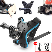 Motorcycle Helmet Mount Bracket Fix Strap For iPhone Full Face Chin Stand With Phone Holder For GoPro Hero 8/7/6/5 Action Camera
