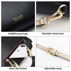 Image 5 - Foxer bolsa feminina chique totes feminino dividir sacos de ombro couro grande capacidade bolsas à moda sacos do mensageiro 928019f